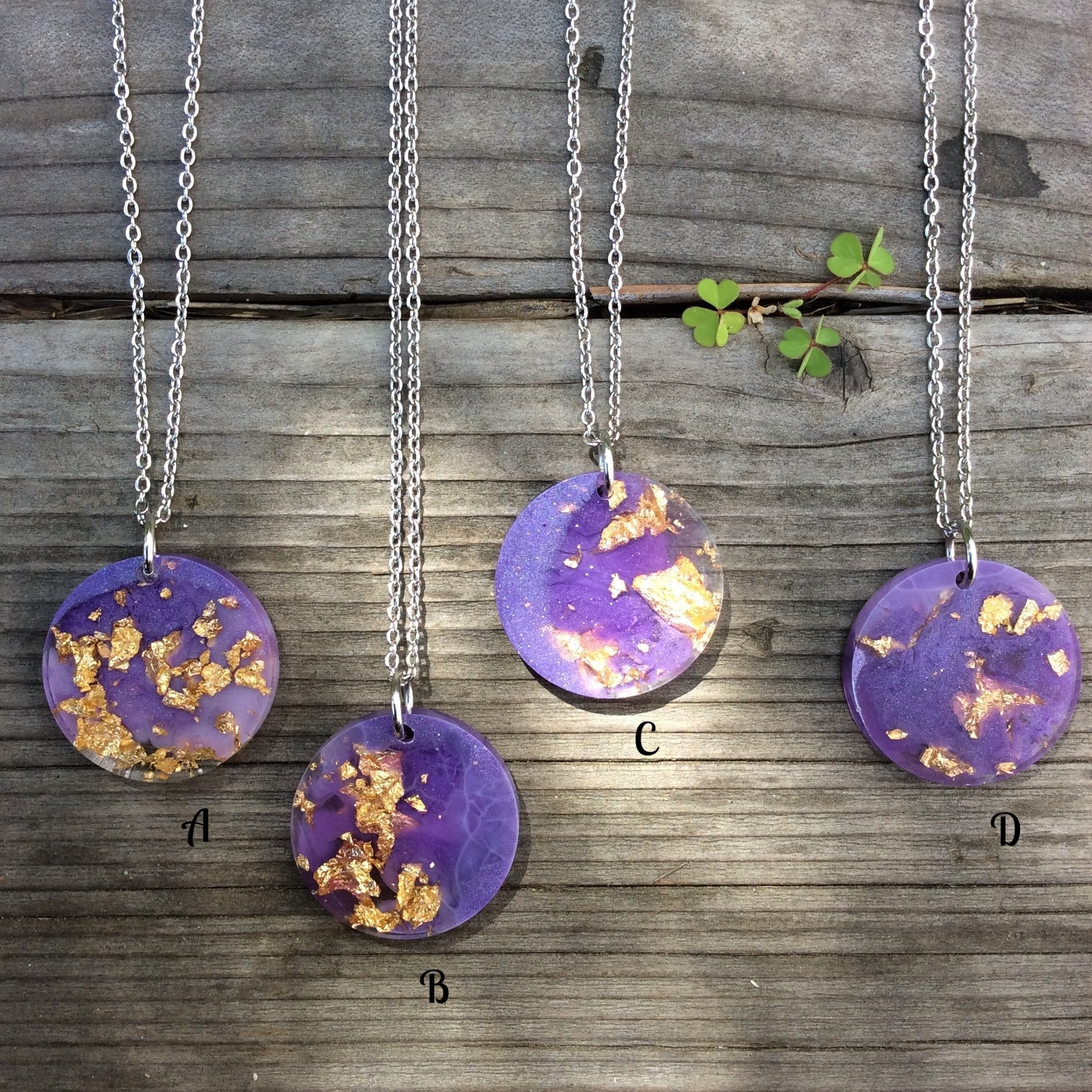 Purple and Gold Moon Necklace