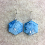 Hexagon Earrings Pearlescent Glacier Blue & Silver - Starlight Bags