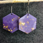 Purple Hexagon Earring - Lavender Resin With Gold Flakes - Starlight Bags