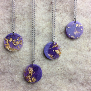Purple and Gold Moon Necklace - Starlight Bags