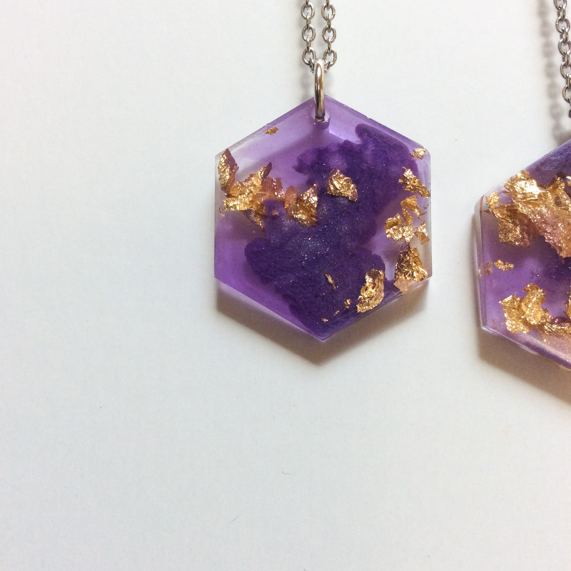 Purple and Gold Hexagon Necklace - Starlight Bags