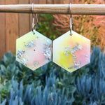 Hexagon Earrings - Pink Pearl Yellow Green - Starlight Bags