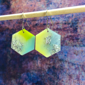 Hexagon Earrings - Pastel Green Yellow Blue - Starlight Bags