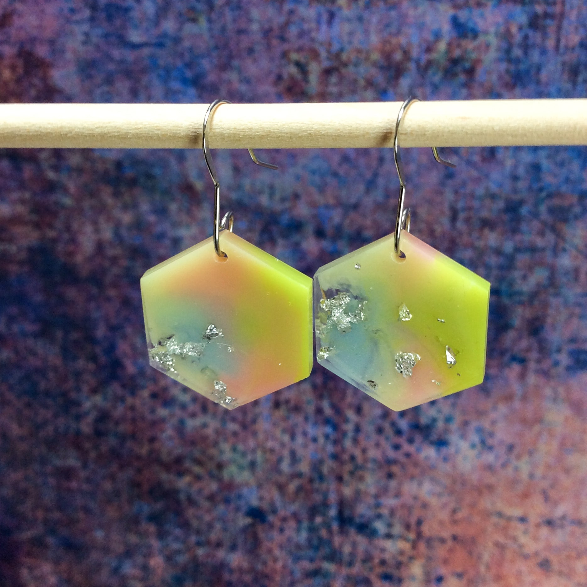 Hexagon Earrings - Pastel Green Yellow Blue and Pink