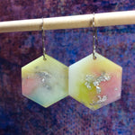 Hexagon Earrings - Pastel Green Yellow Blue and Pink - Starlight Bags