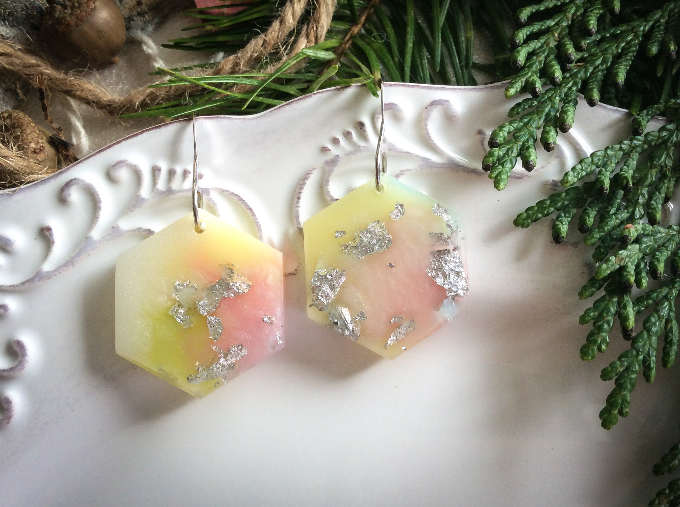 Hexagon Earrings - Pink Pearl Yellow Green