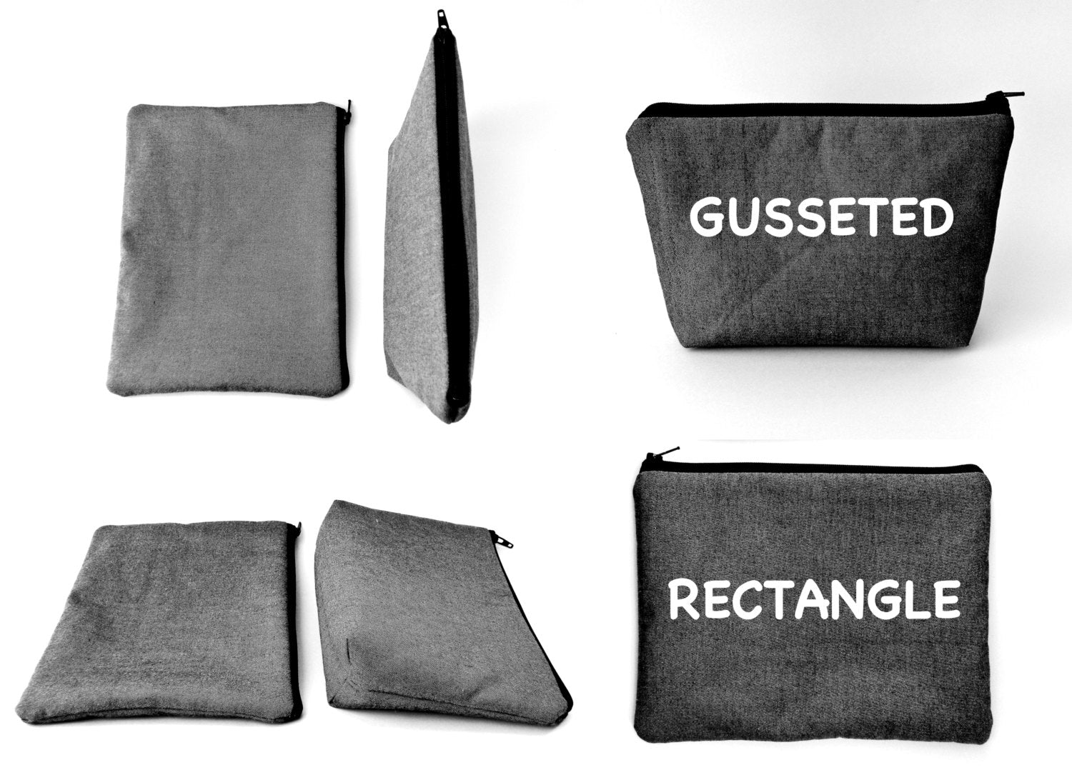 Bag style examples Gusseted and Rectangle