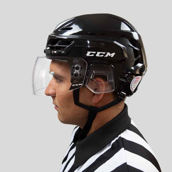 CCM VR24 straight clear hockey referee visor with a ccm resistance 110 black helmet