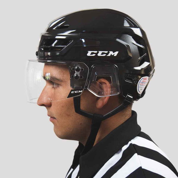 CCM VR25 straight clear hockey referee visor with a ccm resistance 110 black helmet