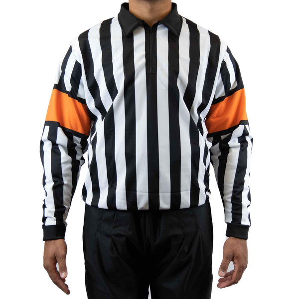 Zebrasclub zr1 hockey referee jersey with orange armbands