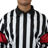 Zebrasclub zr1 hockey referee jersey with red armbands front zip