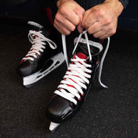 Zebrasclub white waxed hockey referee laces tight on skate