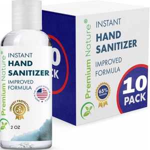 10 Pack Hand Sanitizer Gel Instant Advanced Natural Hand Sanitizer Kills 99% Germs 2 oz