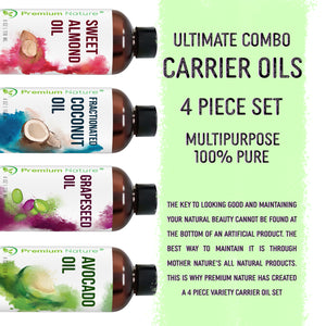 Carrier Oils 4Pk 4oz Set Best Oils Coconut Grapeseed Avocado & Sweet Almond