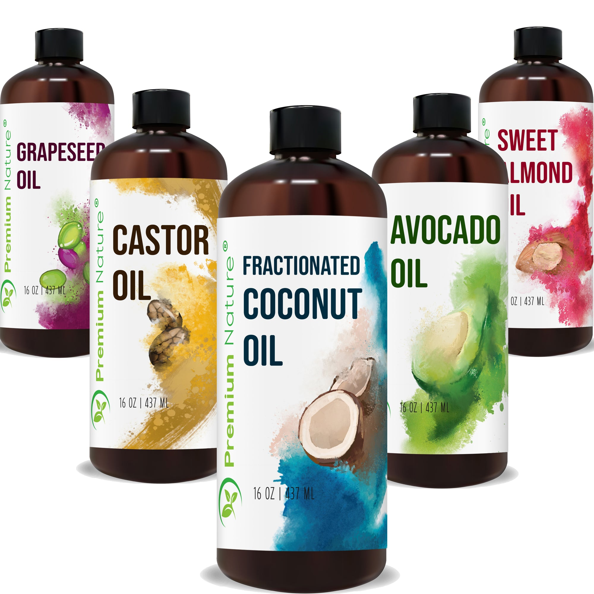 Carrier Oils 5 Piece Gift Set for Essential Oils Mixing Dry Skin Hair 16oz Each