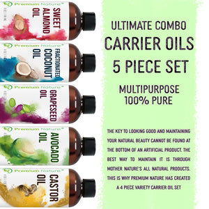Carrier Oils 5 pk Variety Set 4 oz each Best Oils for Body Massage Dry Skin Hair