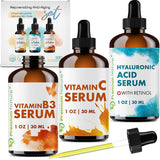 Hyaluronic Acid with Retinol & Vitamin C Serum & Vitamin B3 Serum 3 Pieces Set