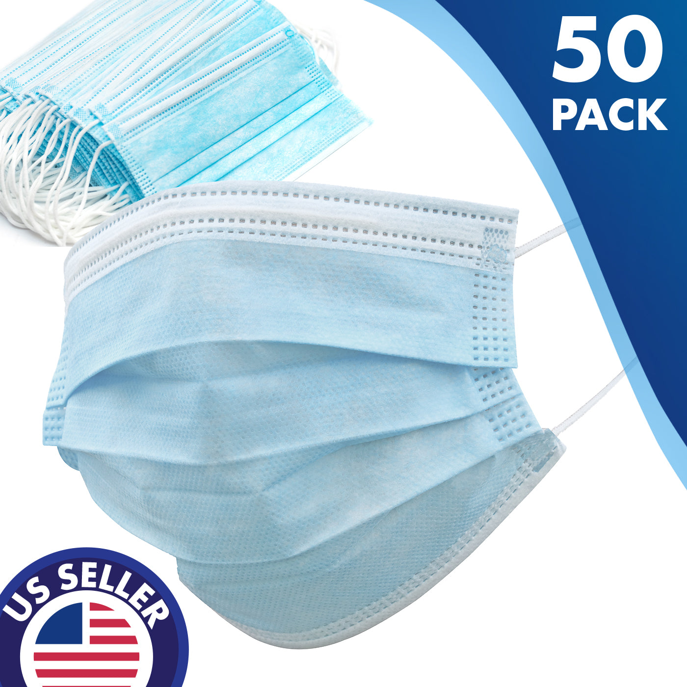 Disposable Ultimate Protect Face Mask Virus Flu Medical Face Mask 50 PK