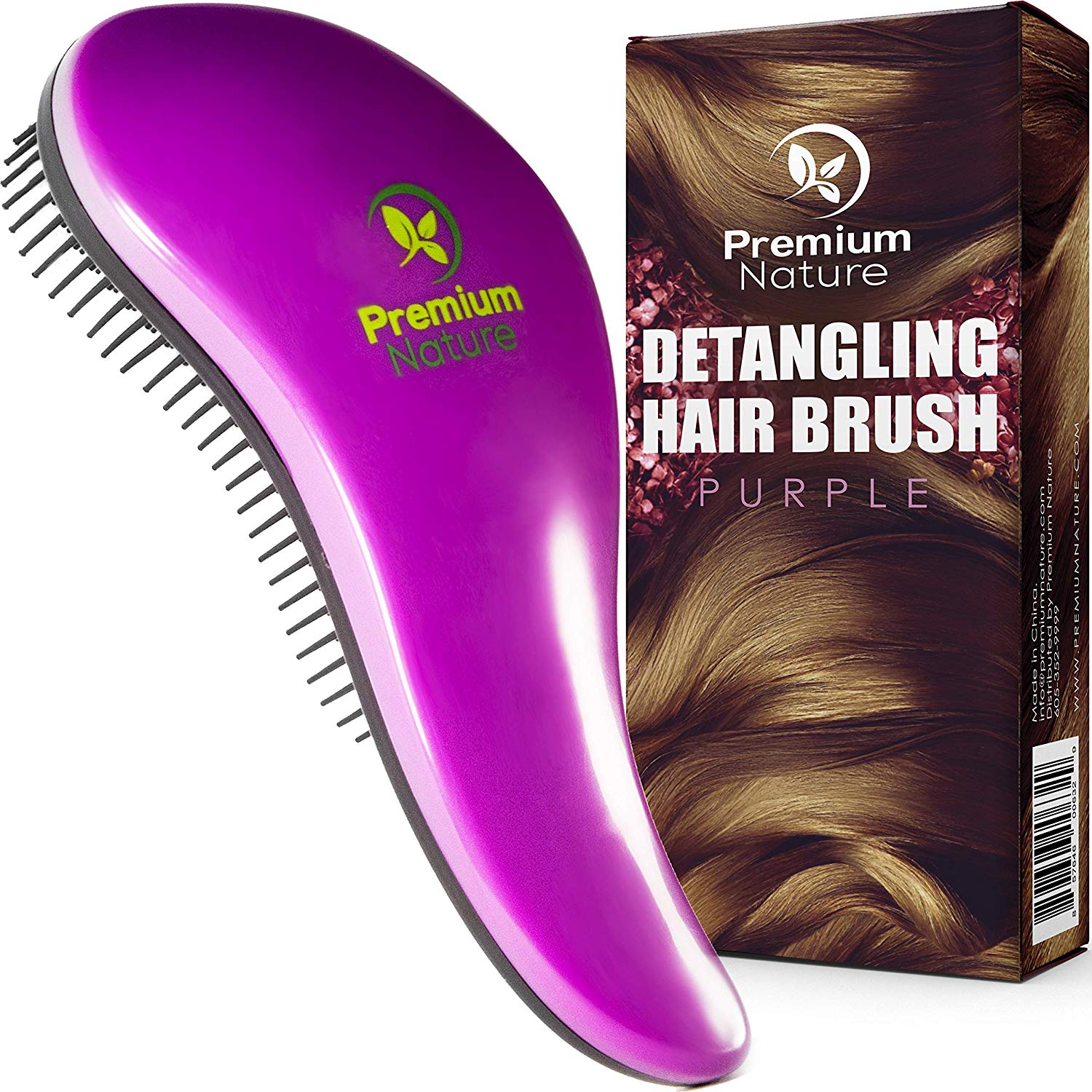 Detangling Hair Brush, Purple by Premium Nature