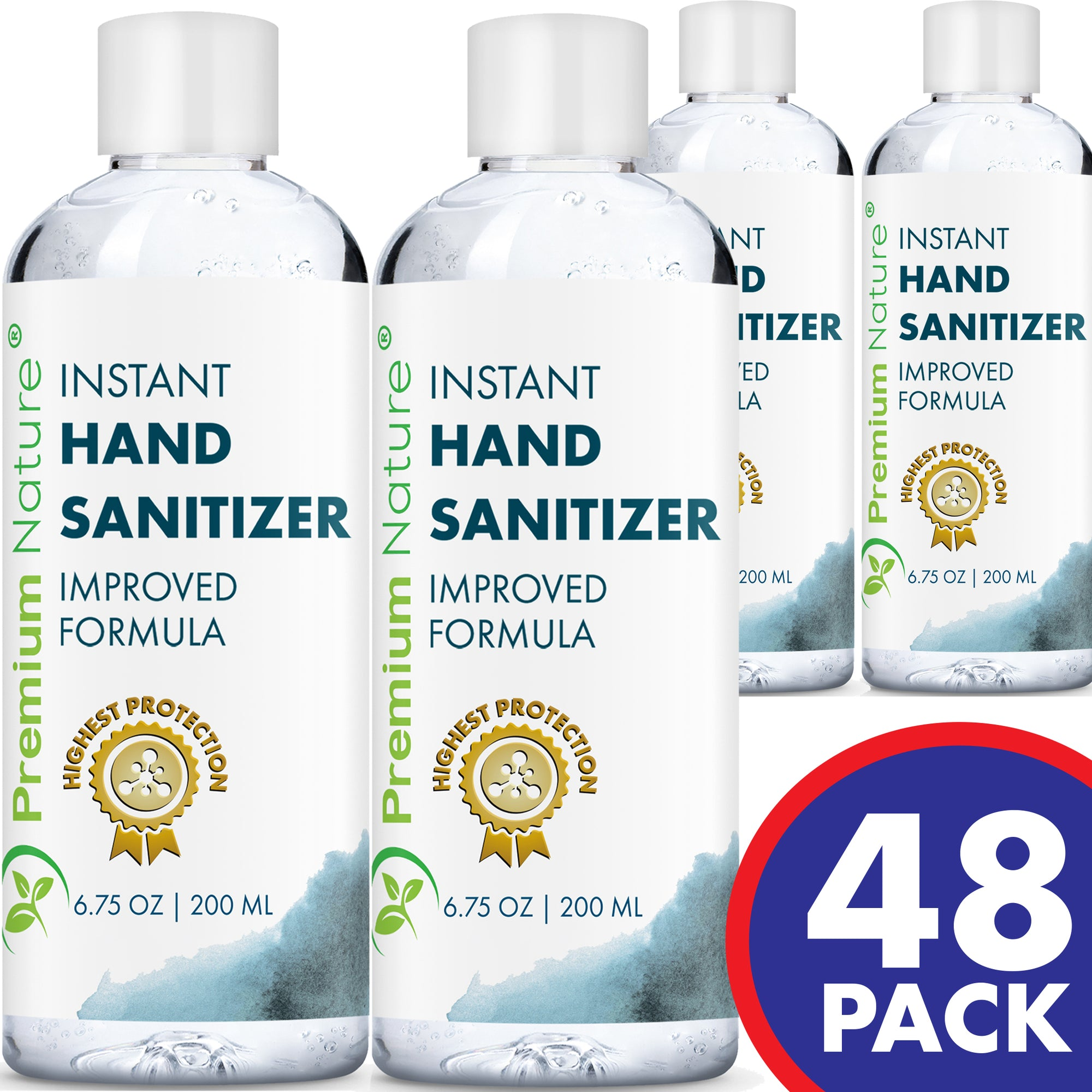 48 Pack Hand Sanitizer Gel Natural Advanced KILLS 99% OF GERMS MADE IN USA 48 x 6.75 OZ/ 200 ML