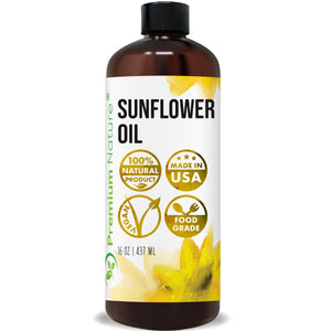Sunflower Oil Cold Pressed - Sunflower Seed Oil Unrefined Sun Flower Oil Face Hair Skin Sunflower Essential Oil Pure Unrefined for Massage,Vitamin E Oil