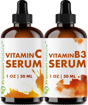 Vitamin C Serum and Vitamin B3 Serum by Premium Nature
