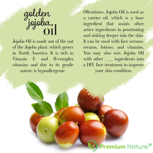 Golden Jojoba Oil 4 oz - Hair & Face Carrier Oil - Pure Cold Pressed Serum