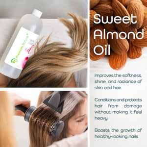 Sweet Almond Oil 32 oz  Natural Pure for Skin & Hair - Cleansing Properties Evens Skin Tone Treats Irritated Skin Nourishes Moisturizes & Prevents Aging