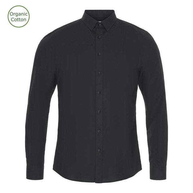 CONSJUS MENS POPLIN SHIRT BLACK SLIM FIT