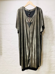 Gaia dress gold sleek