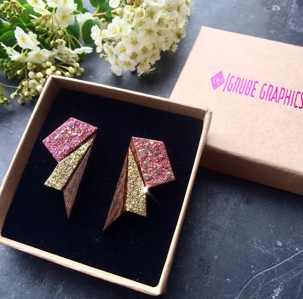 Small Wings Raspberry pink & Gold