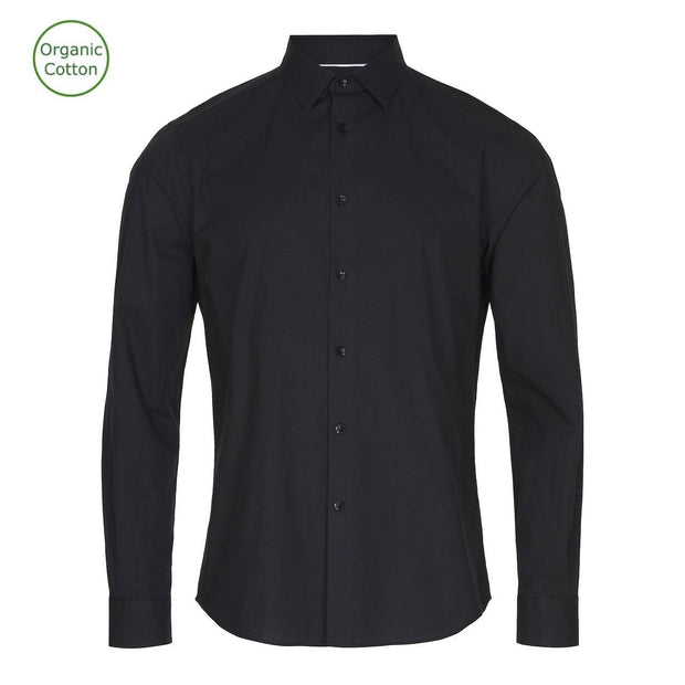 CONSJUS MENS CUTAWAY SHIRT BLACK SLIM FIT