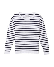 Flora Cotton Stripe Jumper - White/Navy