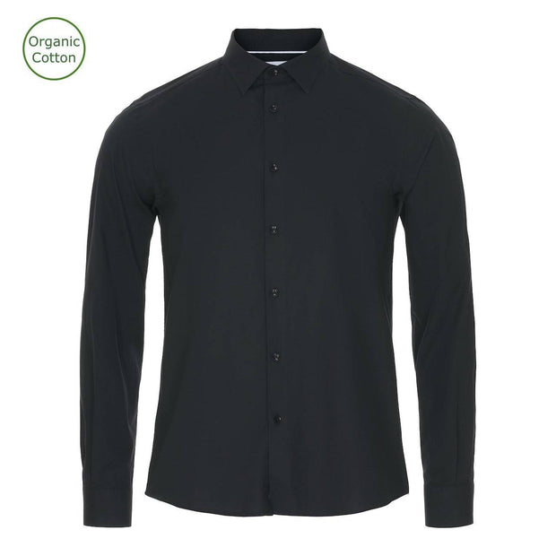 CONSJUS MENS CUTAWAY SHIRT BLACK REGULAR FIT