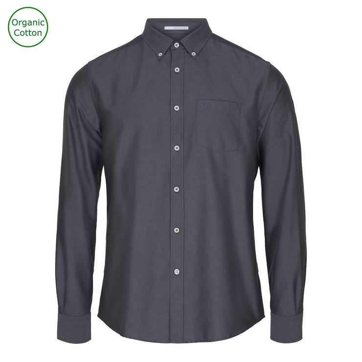 CONSJUS MENS OXFORD SHIRT GREY REGULAR FIT