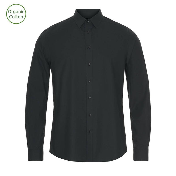 CONSJUS MENS POPLIN SHIRT BLACK REGULAR FIT