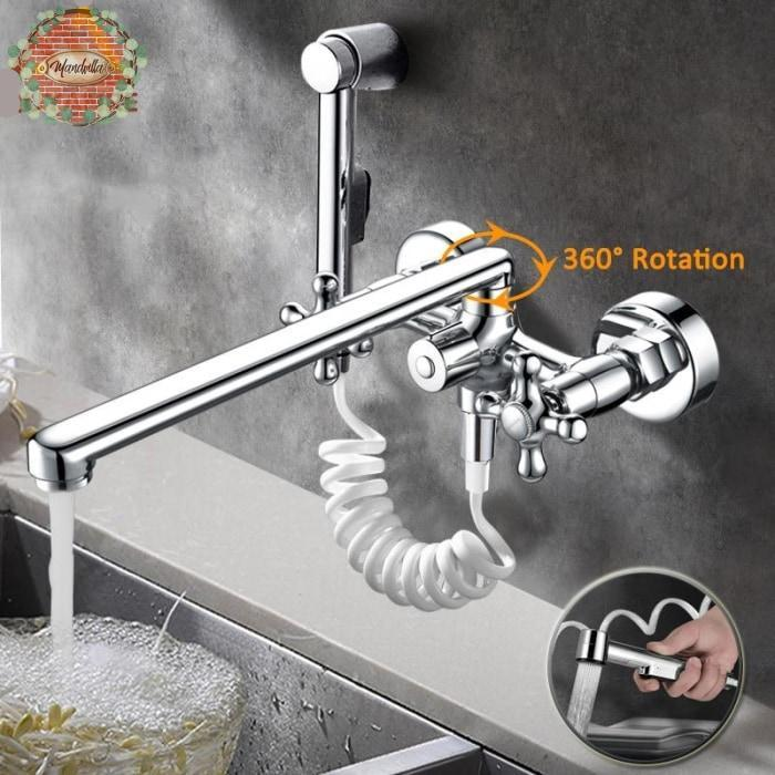 Mandvilla | The Best Wall Mounted Dual Spout Pull Out Kitchen Faucet