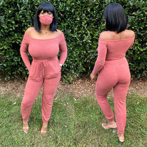 red off the shoulder loungewear jumpsuit