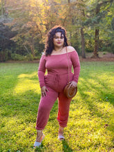 Load image into Gallery viewer, plus size red jumpsuit with cuffed joggers