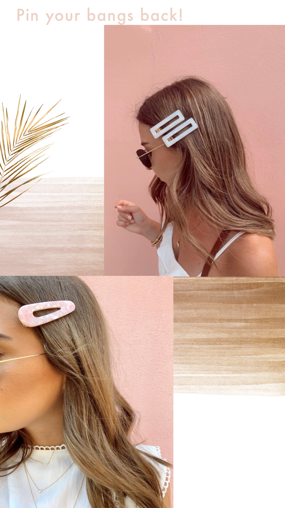 women pink and white hair pins