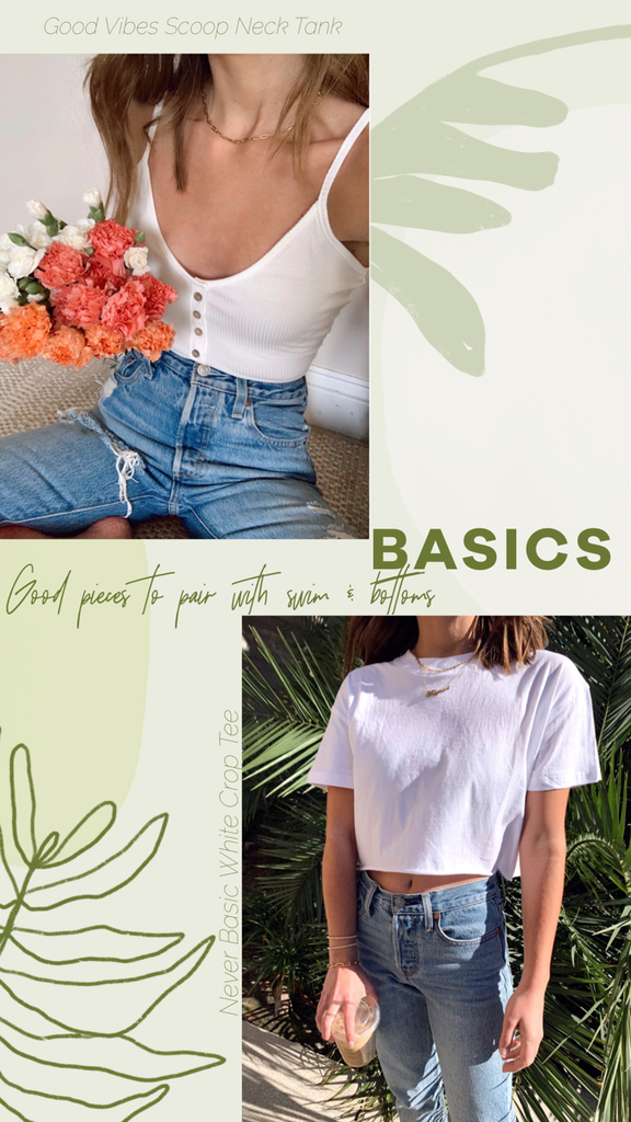 summer basic crop top tee and tank top