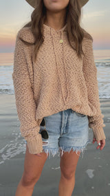 Meet Me By The Sea Taupe Hoodie