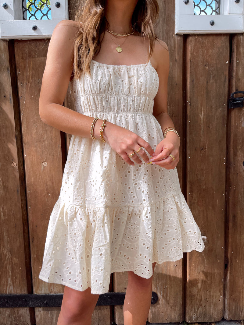 womens ruffled eyelet mini dress