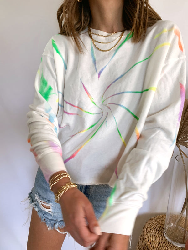 Women's multi colored tie dye sweatshirt