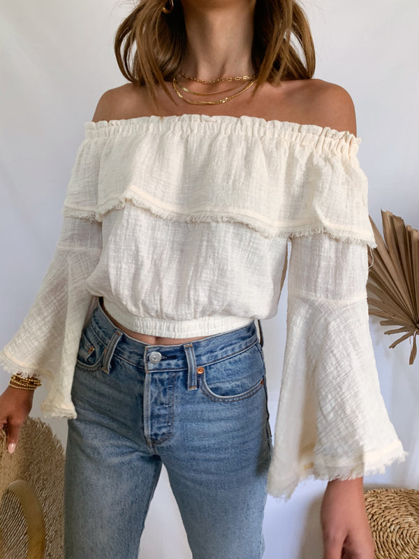 Cream linen off the shoulder crop top