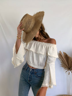 Women's boho neutral off the shoulder crop top