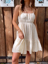 womens off white eyelet mini dress