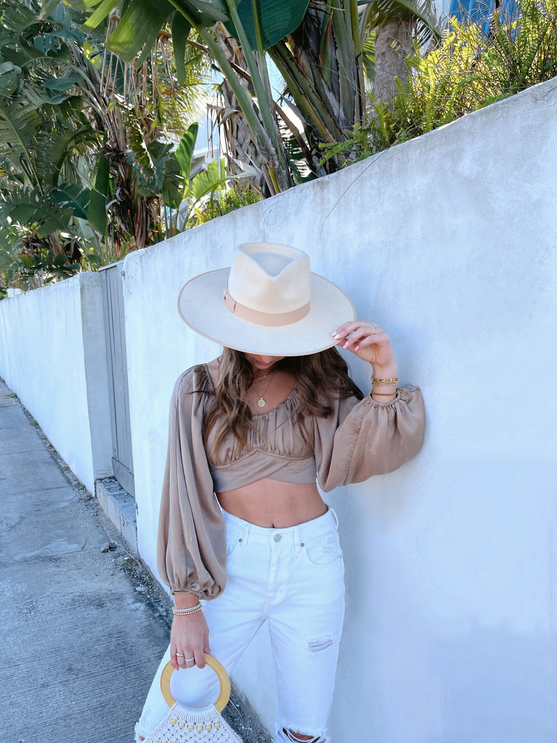 womens tan crop long sleeve boho top