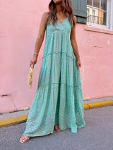 womens green and gold maxi dress