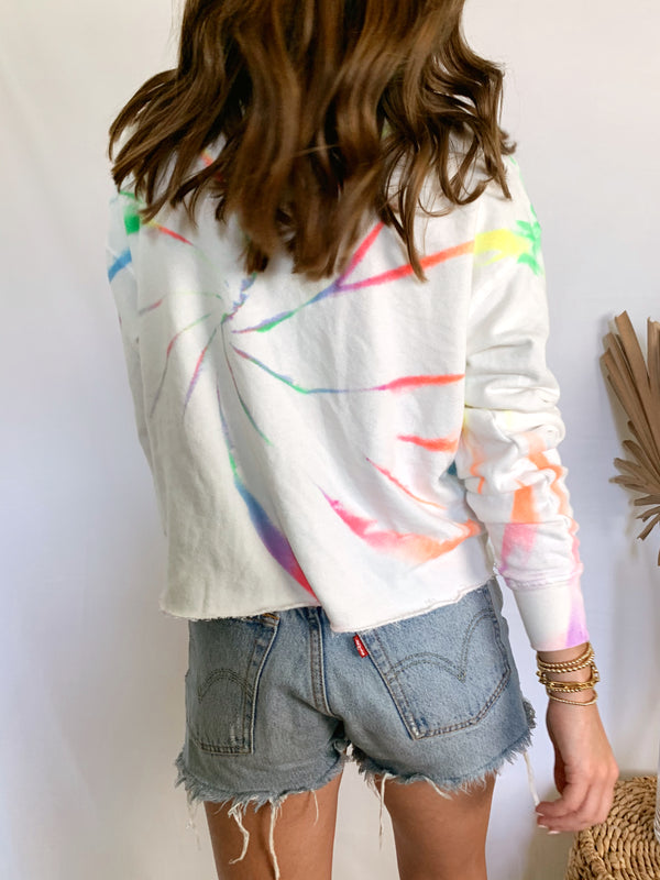Multi colored tie dye sweatshirt